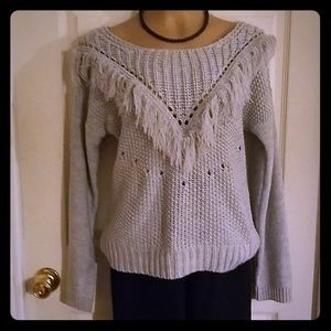 Tops - *2/$15 Knit fringed sweater top
